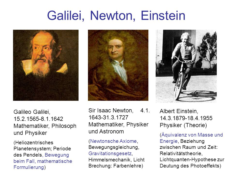 Galilei, Newton, Einstein