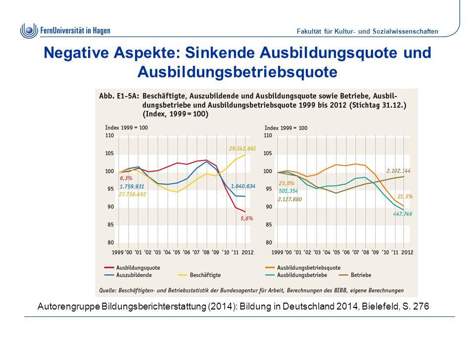 Negative Aspekte: Sinkende Ausbildungsquote und Ausbildungsbetriebsquote