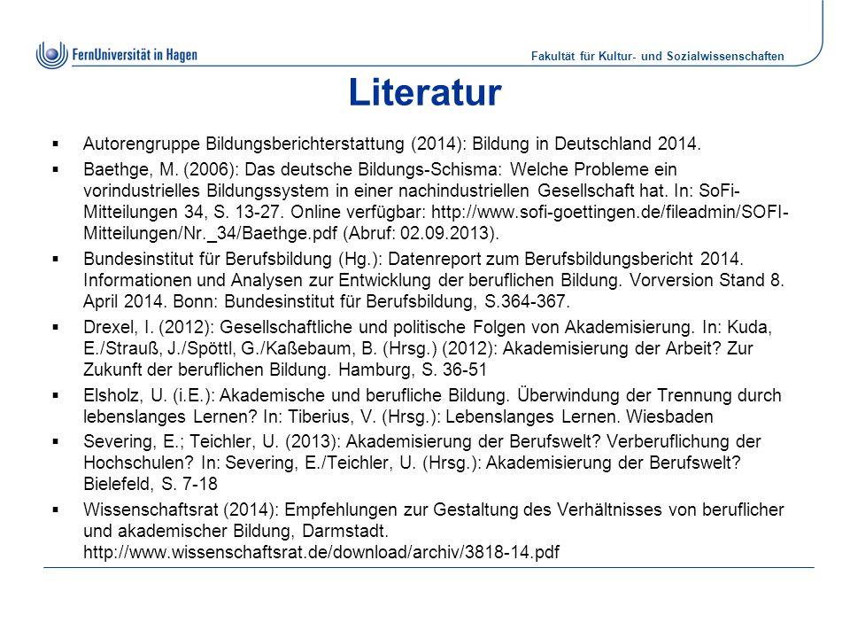 Literatur Autorengruppe Bildungsberichterstattung (2014): Bildung in Deutschland 2014.
