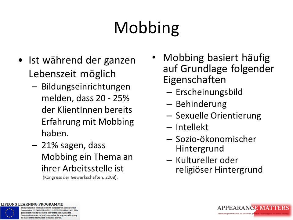 Mobbing Ist während der ganzen Lebenszeit möglich