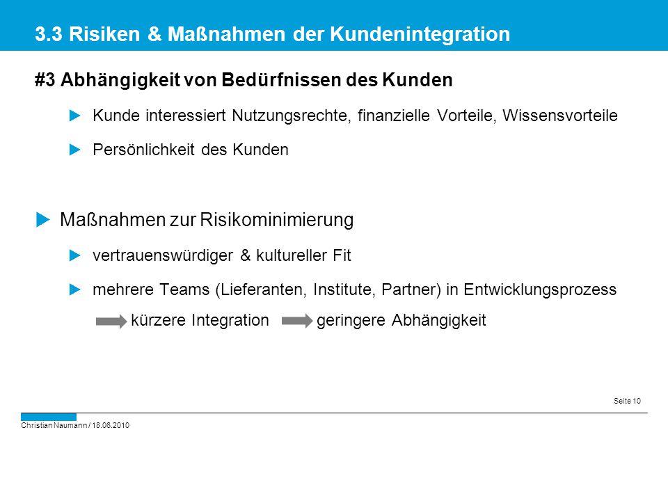 3.3 Risiken & Maßnahmen der Kundenintegration