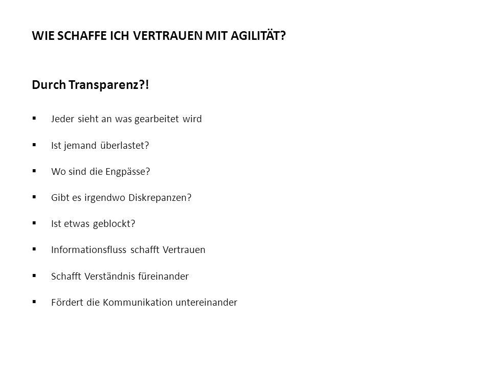 Transparenz WIE SCHAFFE ICH VERTRAUEN MIT AGILITÄT