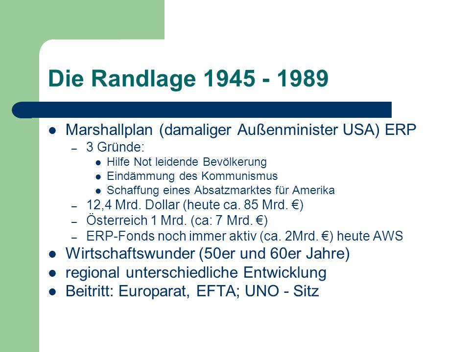 Die Randlage 1945 - 1989 Marshallplan (damaliger Außenminister USA) ERP. 3 Gründe: Hilfe Not leidende Bevölkerung.