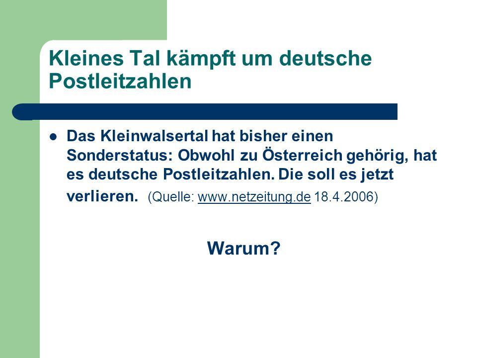 Kleines Tal kämpft um deutsche Postleitzahlen