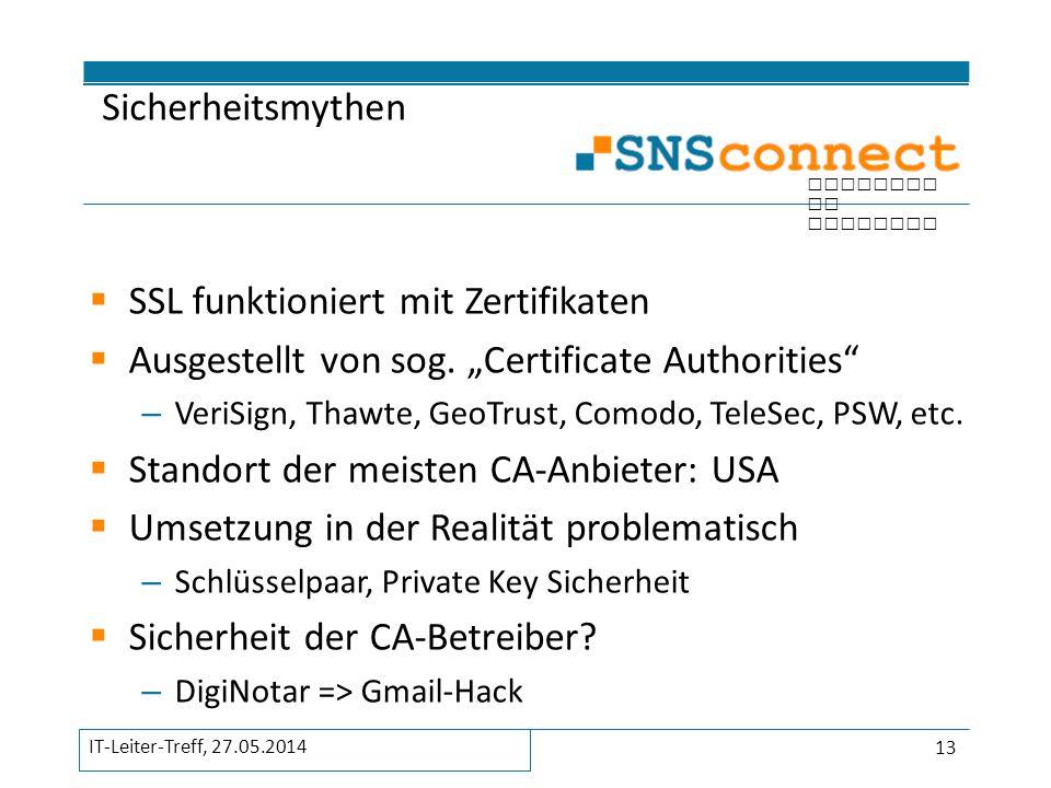 SSL funktioniert mit Zertifikaten