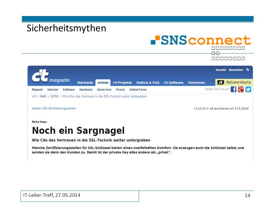 Sicherheitsmythen IT-Leiter-Treff, 27.05.2014