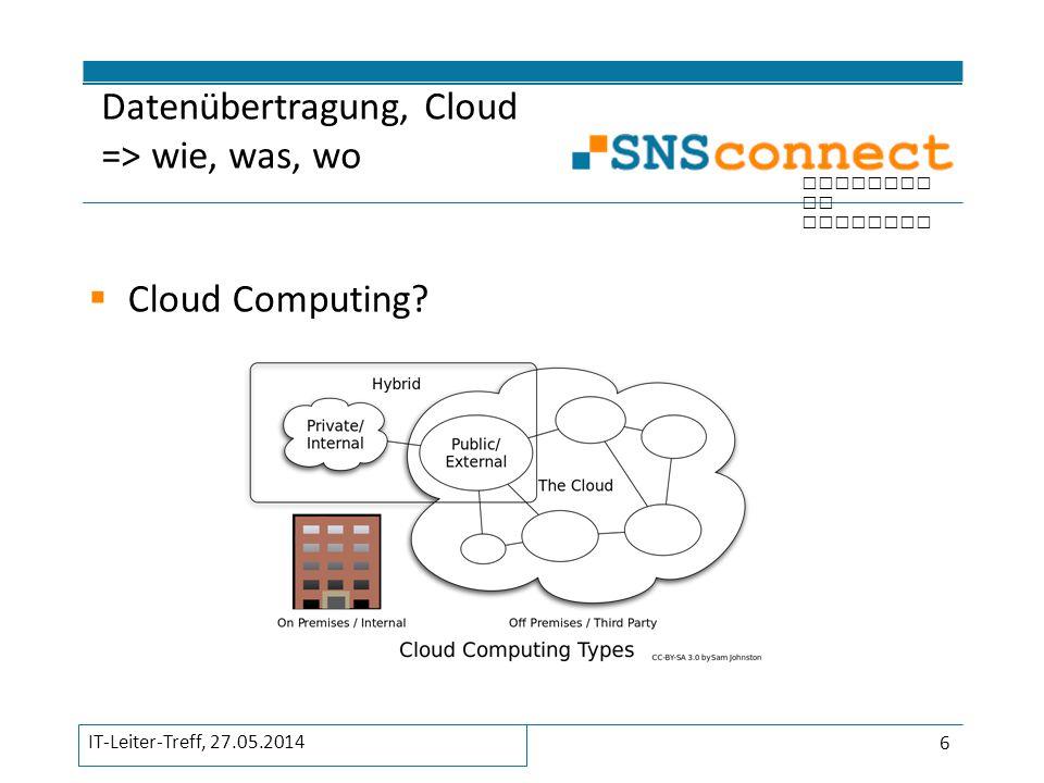 Datenübertragung, Cloud => wie, was, wo