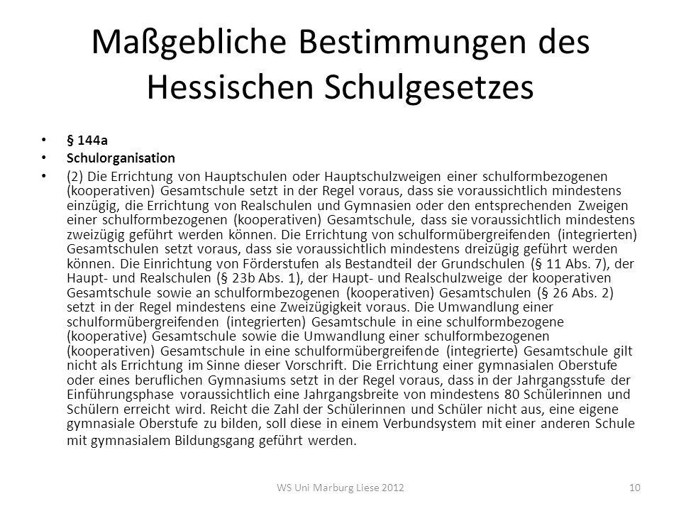 Maßgebliche Bestimmungen des Hessischen Schulgesetzes