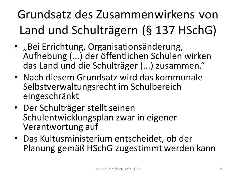 Grundsatz des Zusammenwirkens von Land und Schulträgern (§ 137 HSchG)