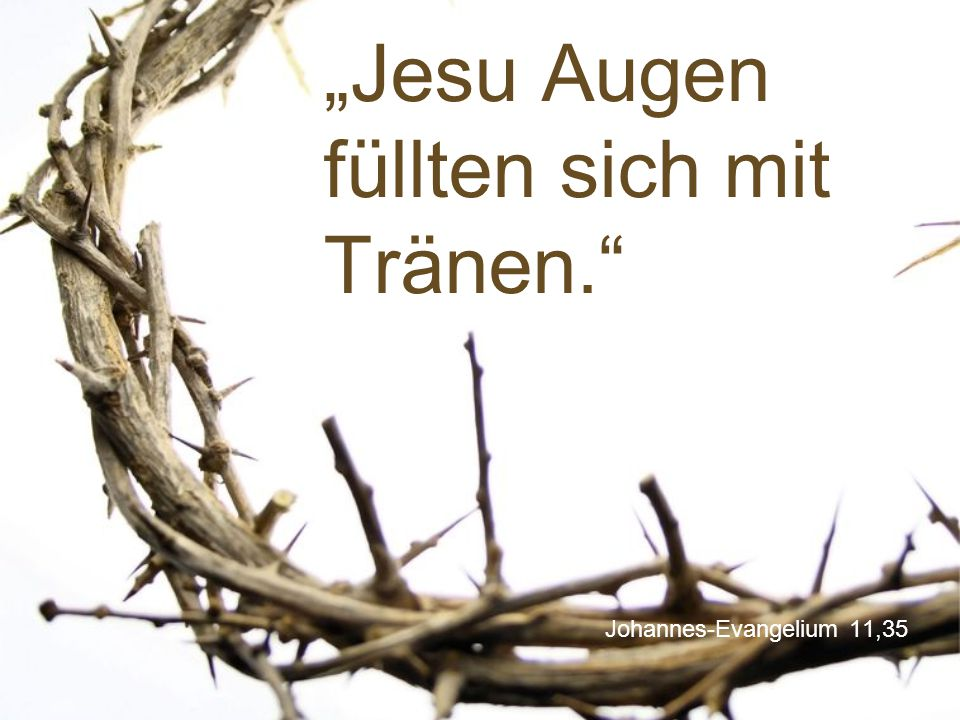 """""""Jesu Augen füllten sich mit Tränen."""