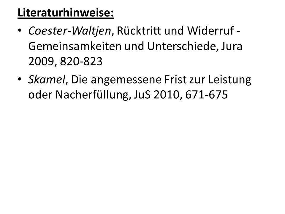 Literaturhinweise: Coester-Waltjen, Rücktritt und Widerruf - Gemeinsamkeiten und Unterschiede, Jura 2009, 820-823.