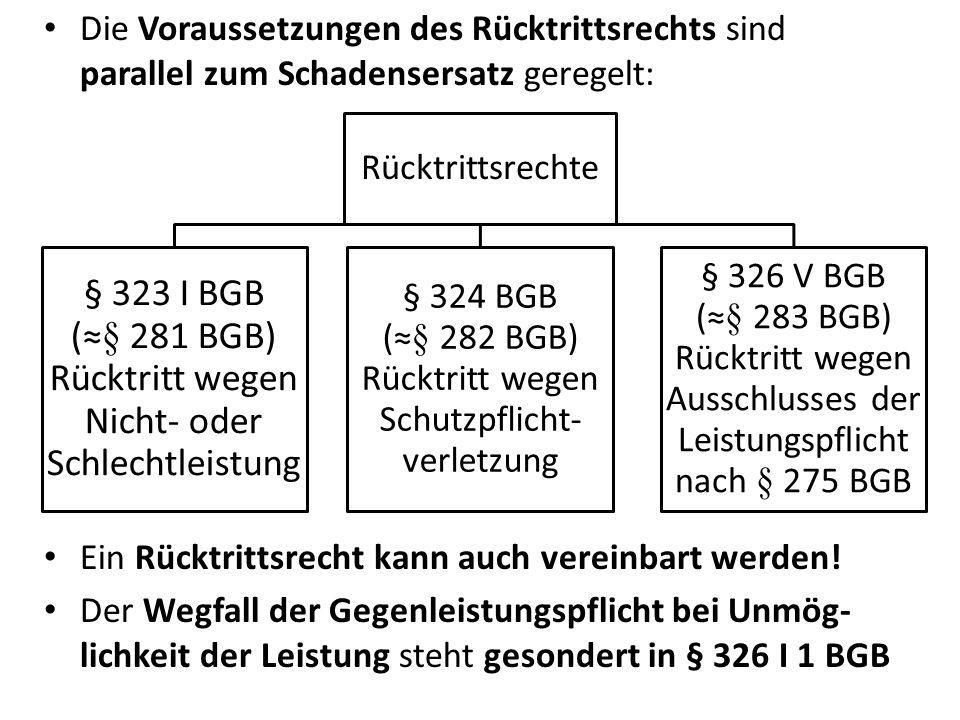 § 323 I BGB (≈§ 281 BGB) Rücktritt wegen Nicht- oder Schlechtleistung