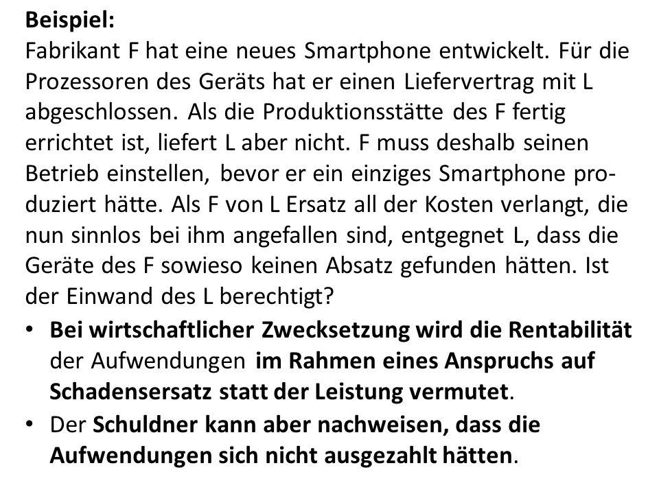 Beispiel: Fabrikant F hat eine neues Smartphone entwickelt