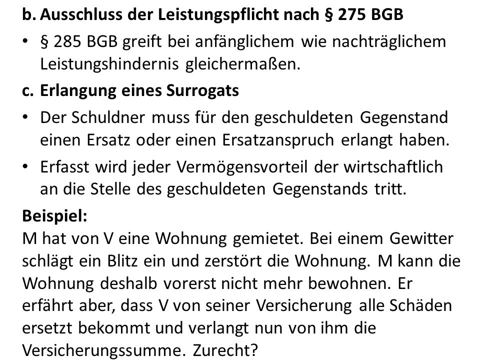 Ausschluss der Leistungspflicht nach § 275 BGB