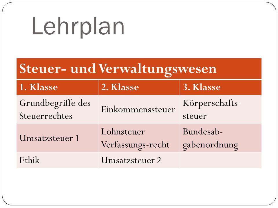 Lehrplan Steuer- und Verwaltungswesen Klasse 2. Klasse 3. Klasse