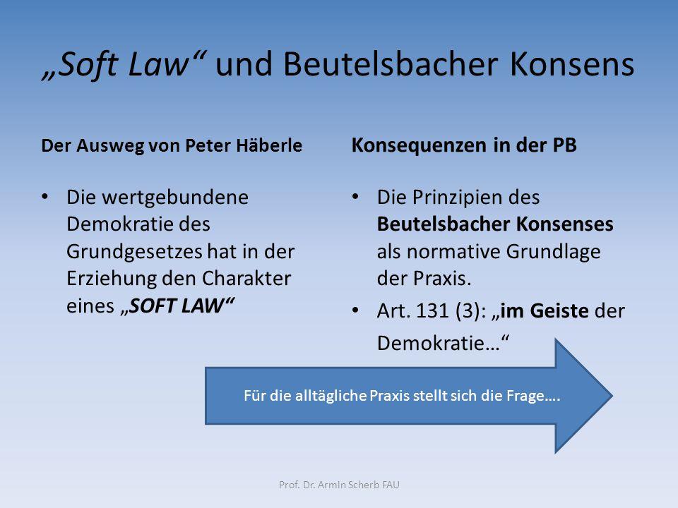 """""""Soft Law und Beutelsbacher Konsens"""