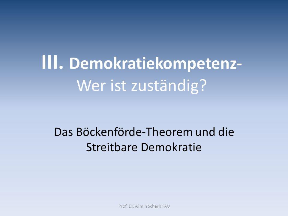 III. Demokratiekompetenz- Wer ist zuständig