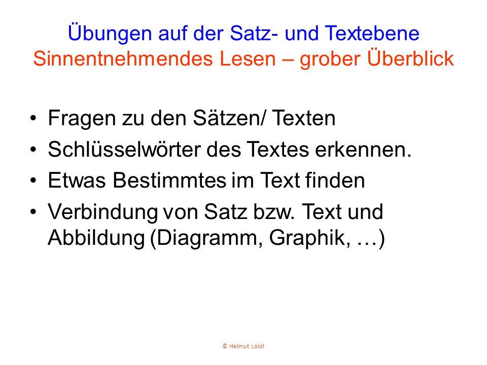 Fragen zu den Sätzen/ Texten Schlüsselwörter des Textes erkennen.