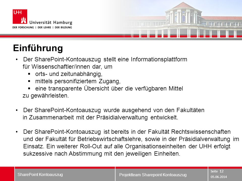 Einführung Der SharePoint-Kontoauszug stellt eine Informationsplattform. für Wissenschaftler/innen dar, um.
