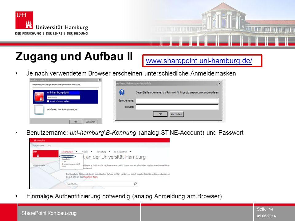Zugang und Aufbau II www.sharepoint.uni-hamburg.de/