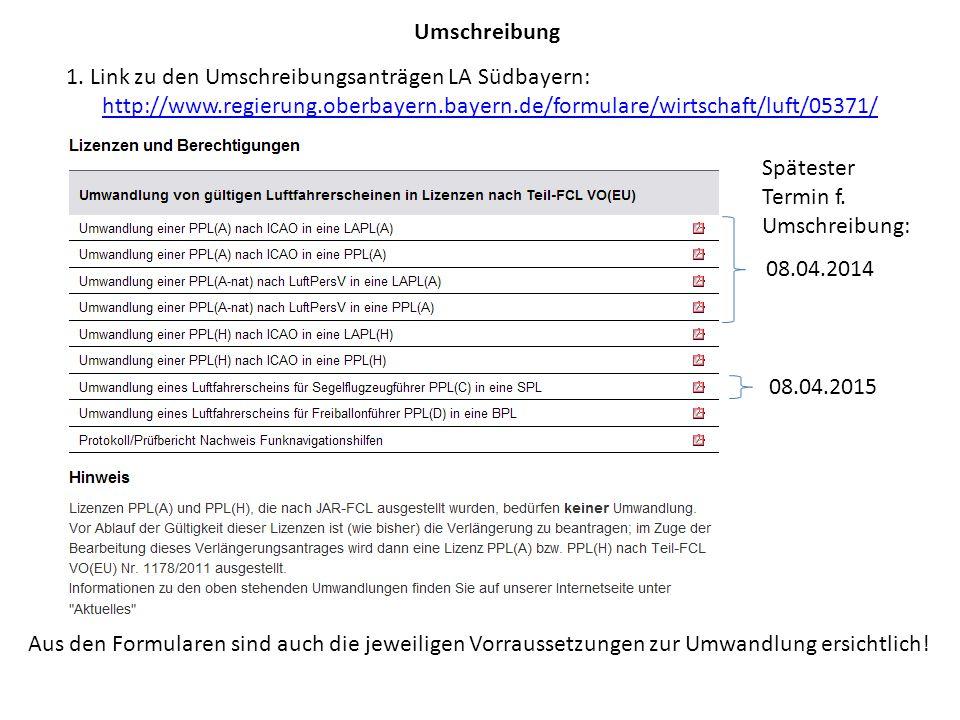 Umschreibung 1. Link zu den Umschreibungsanträgen LA Südbayern: http://www.regierung.oberbayern.bayern.de/formulare/wirtschaft/luft/05371/