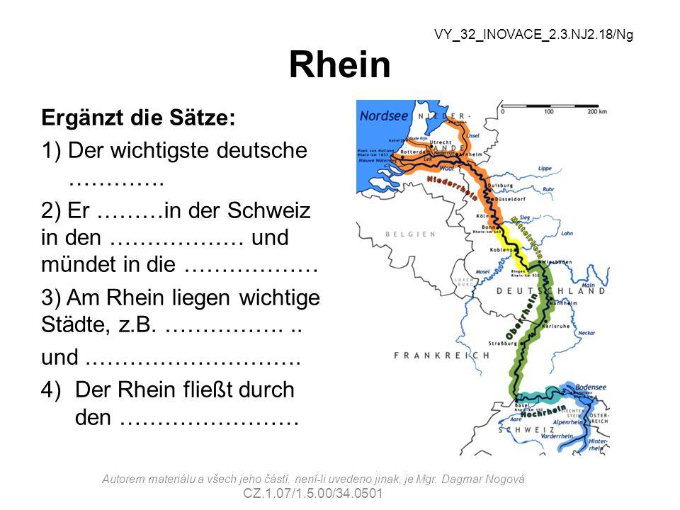 Rhein Ergänzt die Sätze: Der wichtigste deutsche ………….