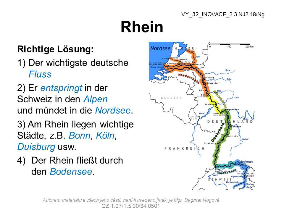 Rhein Richtige Lösung: Der wichtigste deutsche Fluss