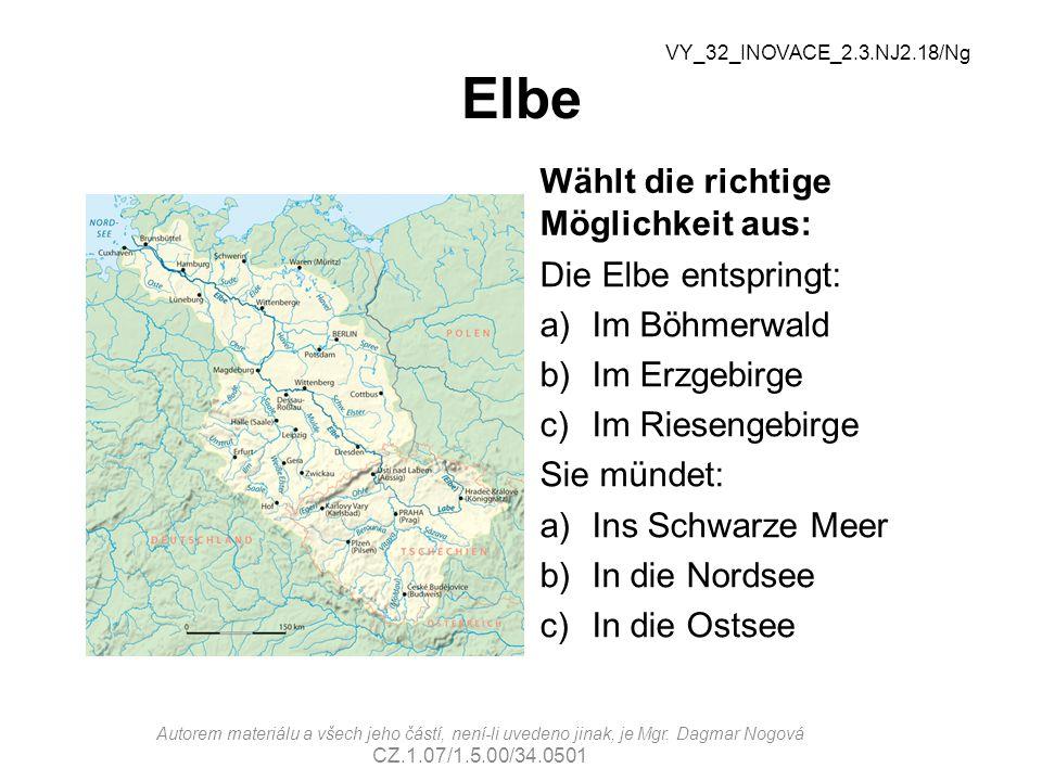 Elbe Wählt die richtige Möglichkeit aus: Die Elbe entspringt: