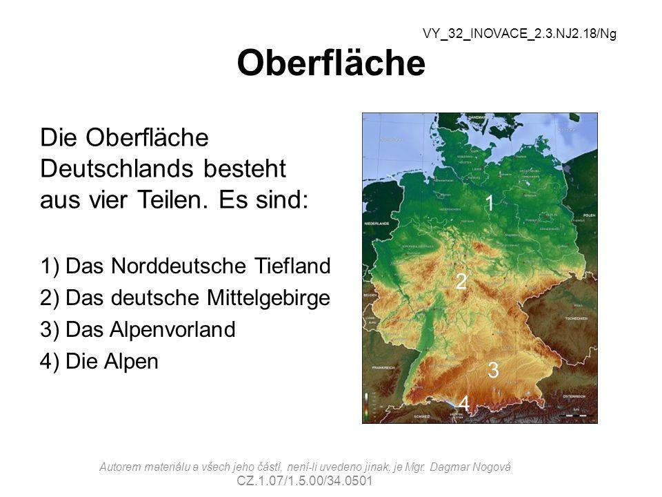 Oberfläche VY_32_INOVACE_2.3.NJ2.18/Ng. Die Oberfläche Deutschlands besteht aus vier Teilen. Es sind: