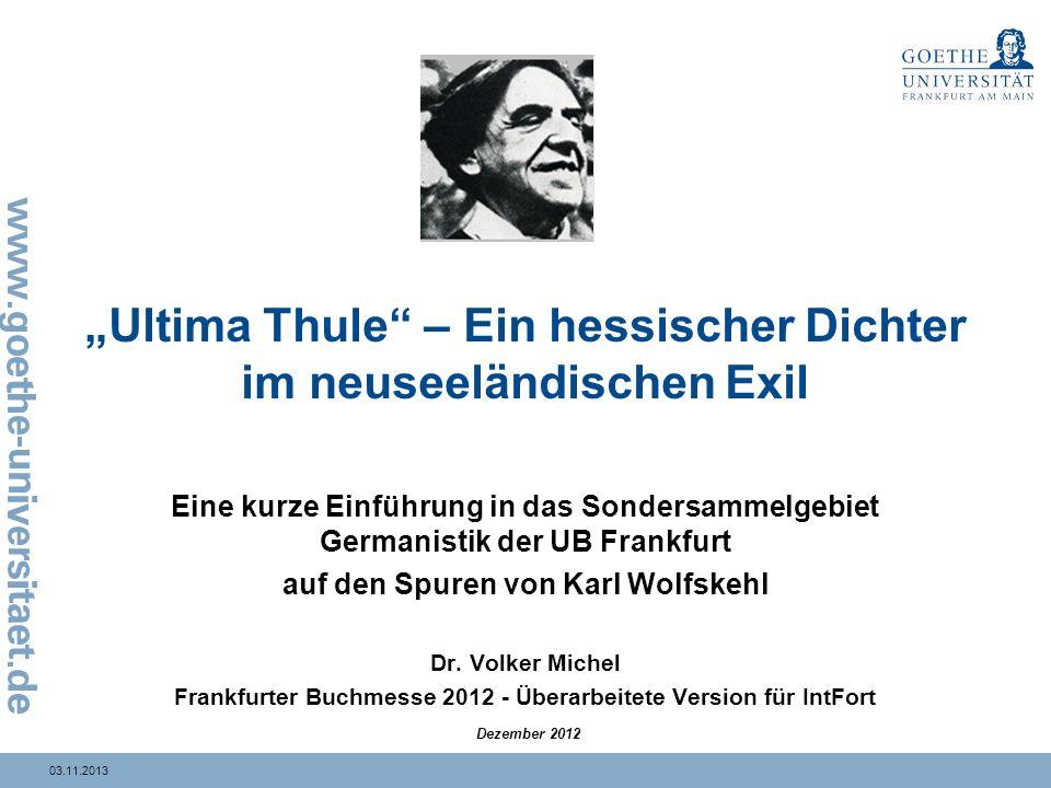"""""""Ultima Thule – Ein hessischer Dichter im neuseeländischen Exil"""