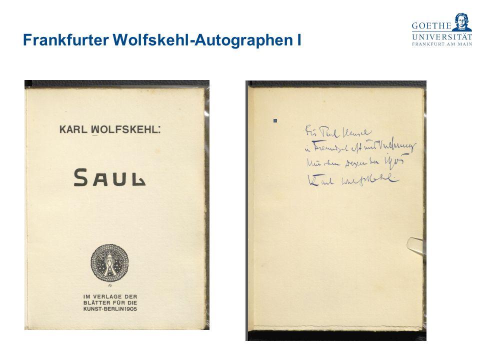 Frankfurter Wolfskehl-Autographen I