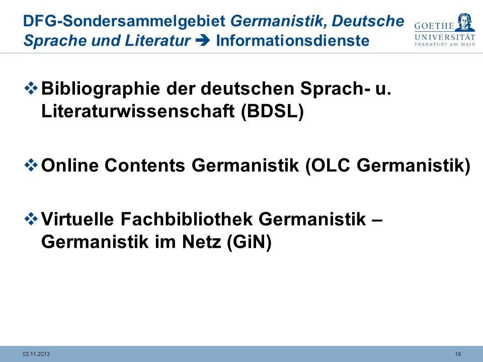 Bibliographie der deutschen Sprach- u. Literaturwissenschaft (BDSL)