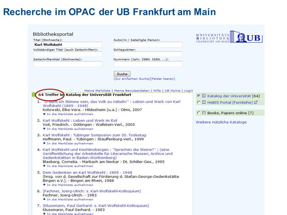 Recherche im OPAC der UB Frankfurt am Main