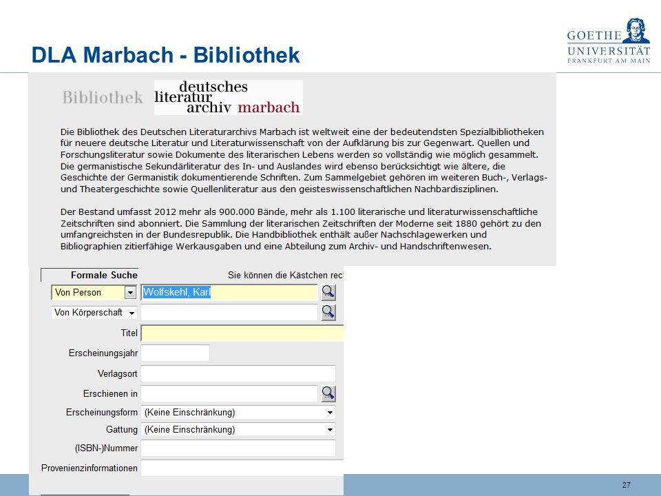 DLA Marbach - Bibliothek