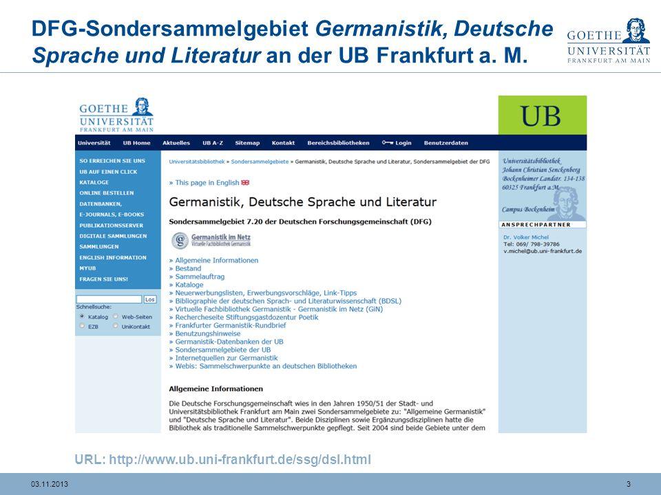 DFG-Sondersammelgebiet Germanistik, Deutsche Sprache und Literatur an der UB Frankfurt a. M.