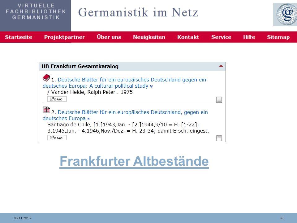 Frankfurter Altbestände