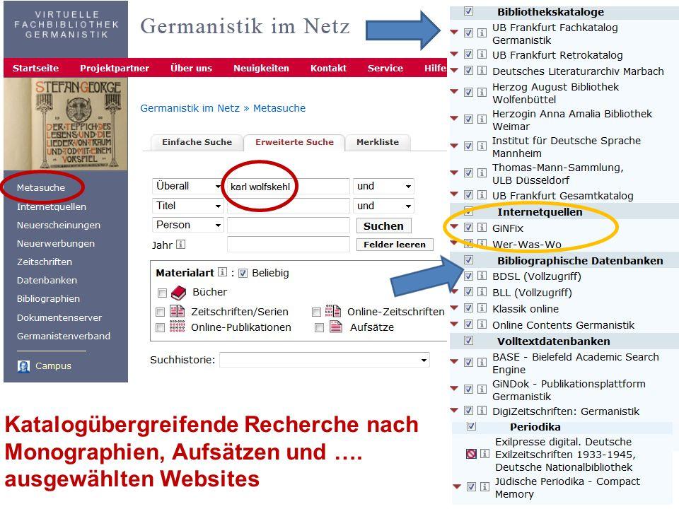 Katalogübergreifende Recherche nach Monographien, Aufsätzen und ….