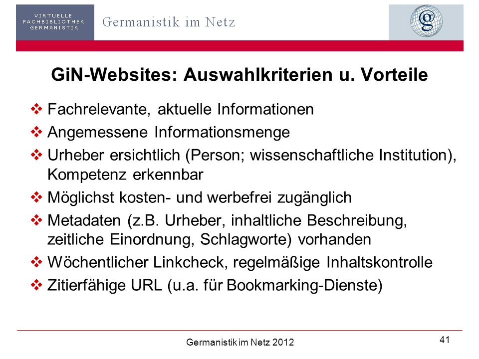 GiN-Websites: Auswahlkriterien u. Vorteile