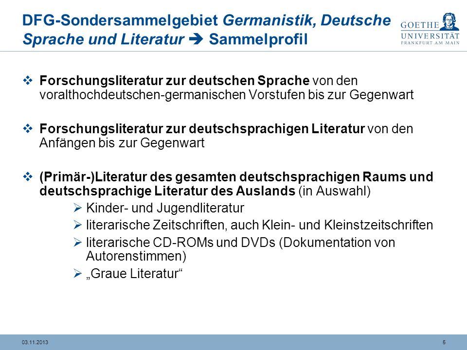 DFG-Sondersammelgebiet Germanistik, Deutsche Sprache und Literatur  Sammelprofil