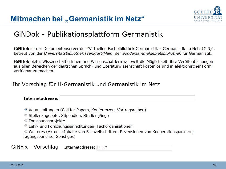 """Mitmachen bei """"Germanistik im Netz"""