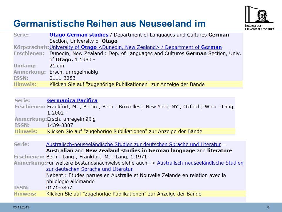Germanistische Reihen aus Neuseeland im