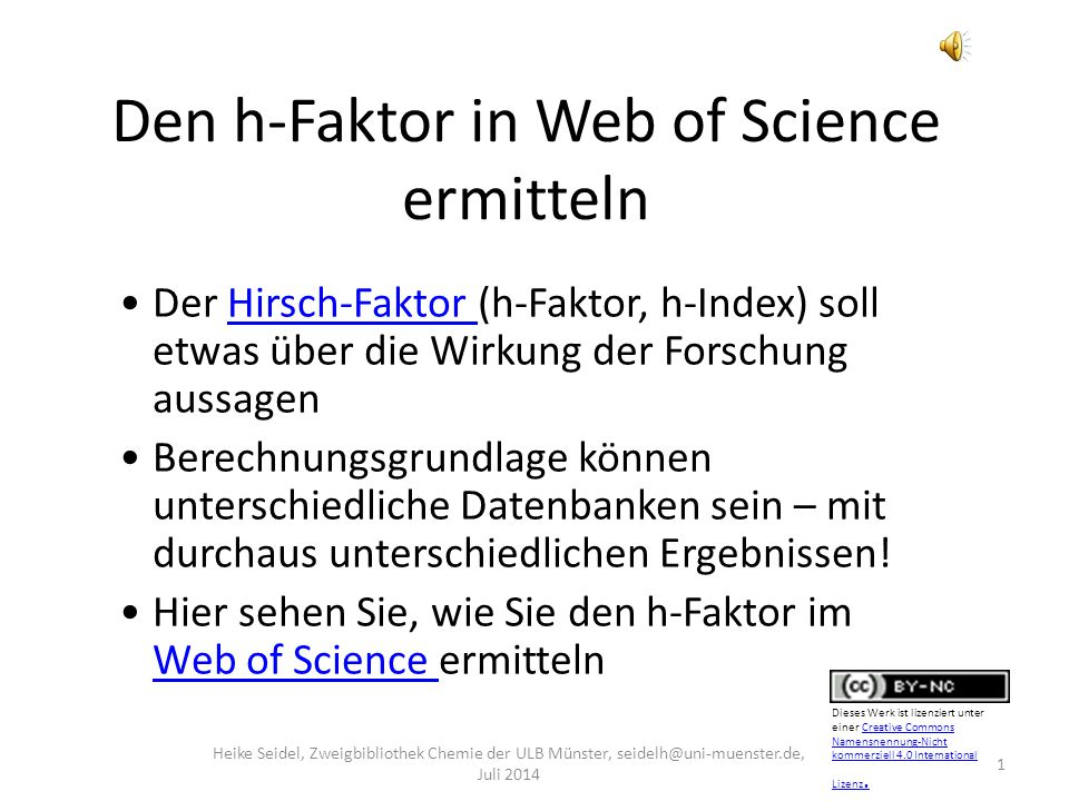Den h-Faktor in Web of Science ermitteln