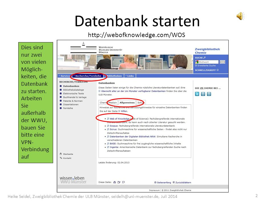 Datenbank starten http://webofknowledge.com/WOS