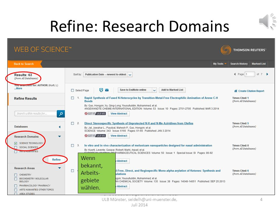 Refine: Research Domains