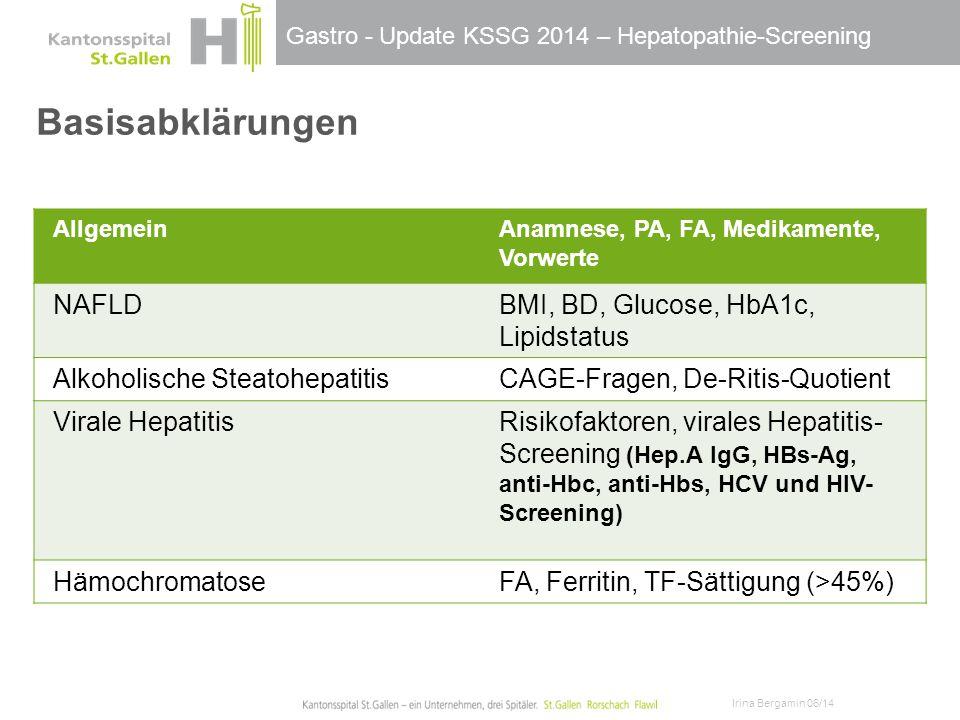 Basisabklärungen NAFLD BMI, BD, Glucose, HbA1c, Lipidstatus