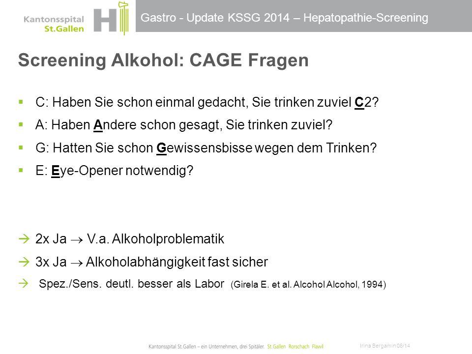 Screening Alkohol: CAGE Fragen