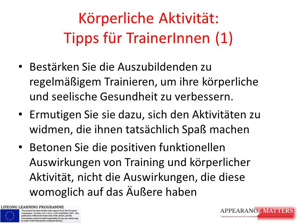 Körperliche Aktivität: Tipps für TrainerInnen (1)