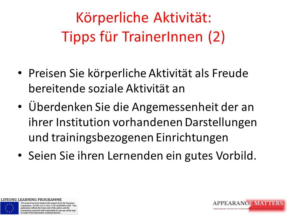 Körperliche Aktivität: Tipps für TrainerInnen (2)