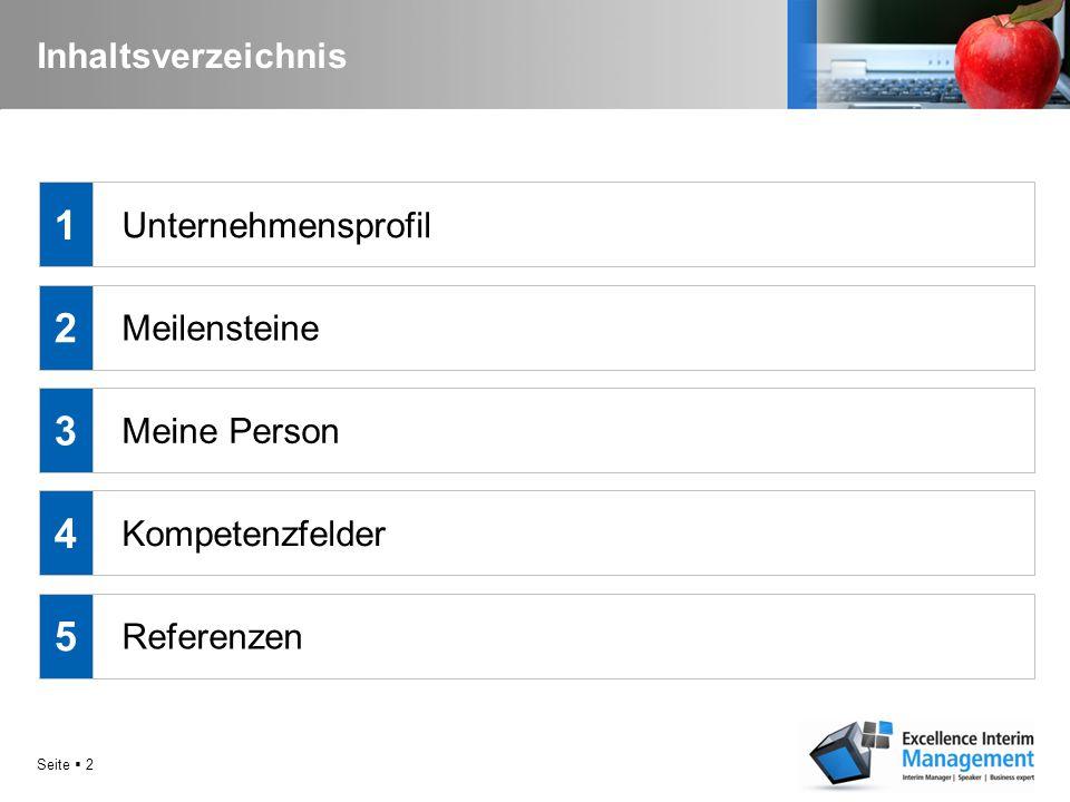 1 2 3 4 5 Inhaltsverzeichnis Unternehmensprofil Meilensteine