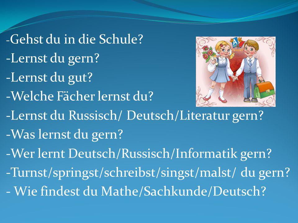 -Welche Fächer lernst du -Lernst du Russisch/ Deutsch/Literatur gern